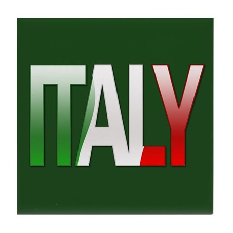 Italy Bubble Letters Tile Coaster By Thelaststraw