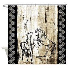 Rustic Equine Art Rearing Horses Shower Curtain