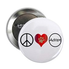 "Peace Love Adopt 2.25"" Button (100 pack)"