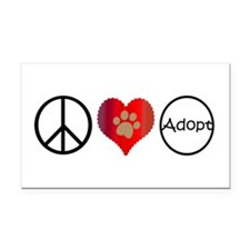 Peace Love Adopt Rectangle Car Magnet