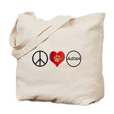 Peace Love Adopt Tote Bag