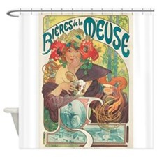 Meuse, Mucha,Beer, Vintage Poster Shower Curtain