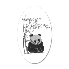 Little Panda 35x21 Oval Wall Decal