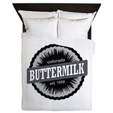 Buttermilk Ski Resort Colorado Black Queen Duvet