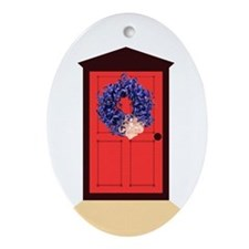 Blue Curly Wreath Ornament (Oval)
