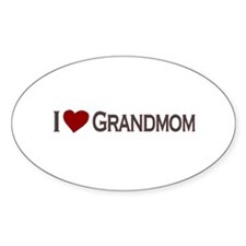 I Love Grandmom Oval Decal