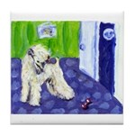 WHEATEN Barks at moon Tile Coaster