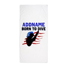 BORN TO DIVE Beach Towel