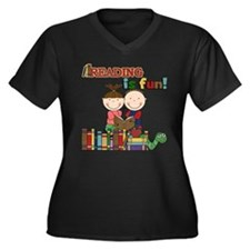 Reading is Fun Women's Plus Size V-Neck Dark T-Shi
