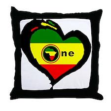 Afrika Rasta Heart I Throw Pillow