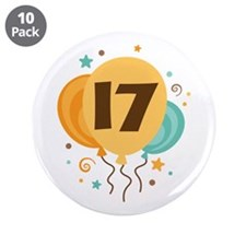 "17th Birthday Party 3.5"" Button (10 pack)"