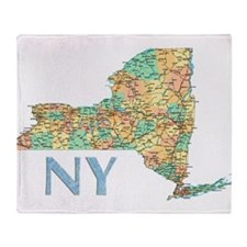 Map of New York State 7 Throw Blanket