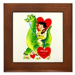 Cave Boy & Dinosaur Framed Tile