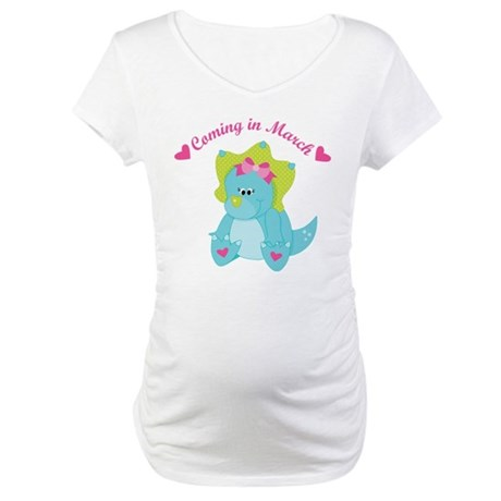March Due Date Baby Girl dinosaur Maternity T-Shir