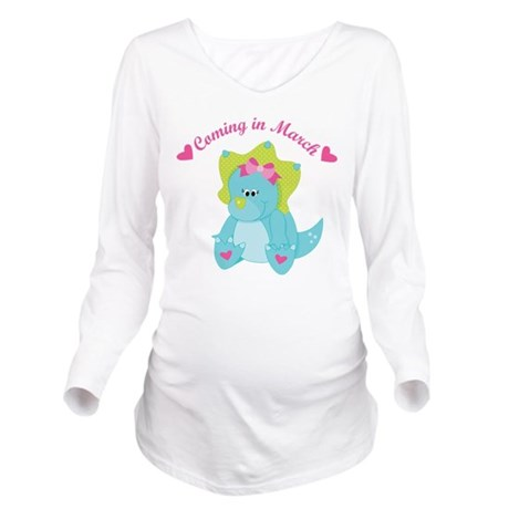 March Due Date Baby Girl dinosaur Long Sleeve Mate