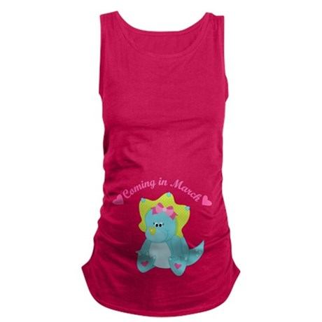 March Due Date Baby Girl dinosaur Maternity Tank T