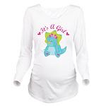 Its A Girl Pregnancy Announcement dinosaur Long Sl