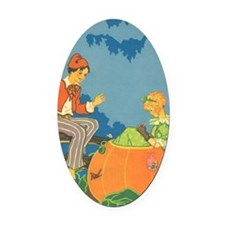 Vintage Nursery Rhyme Oval Car Magnet