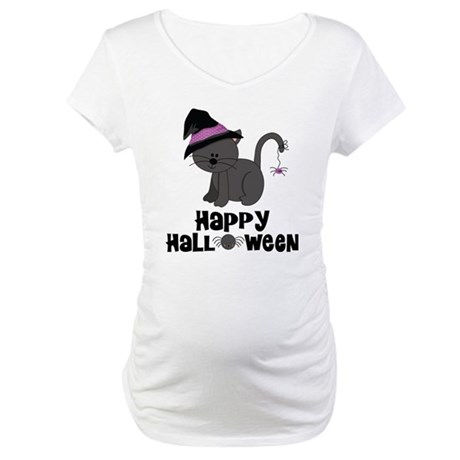 Happy Halloween Witch Cat Maternity T-Shirt
