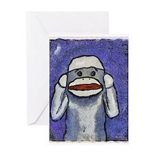 Hear No Evil Sock Monkey Greeting Card