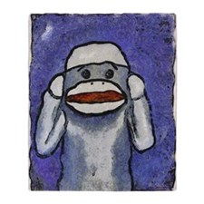 Hear No Evil Sock Monkey Throw Blanket