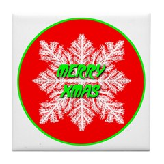 Merry Xmas Symetrical Snowfla Tile Coaster