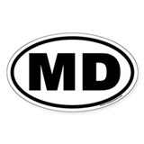 Maryland MD Euro Oval Bumper Stickers