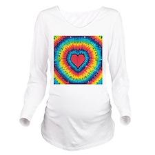 Colorful tie dye heart Long Sleeve Maternity T-Shi