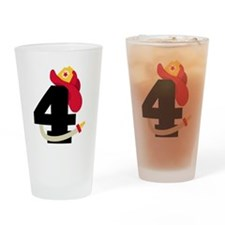 Fireman 4th Birthday Drinking Glass