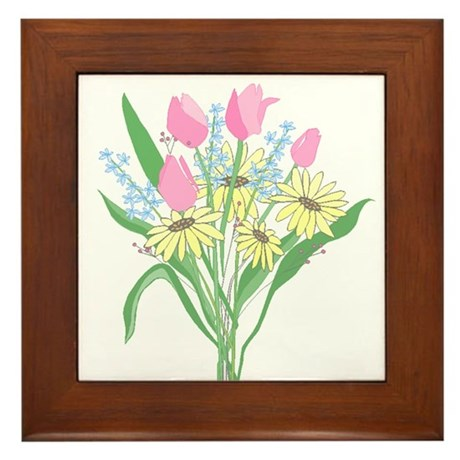 Valentine Bouquet Framed Tile
