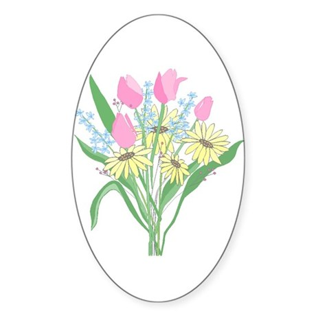 Valentine Bouquet Oval Sticker