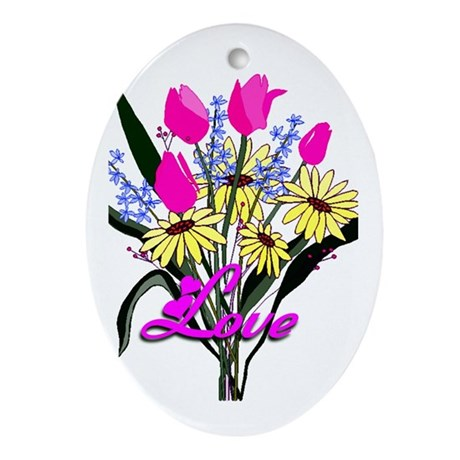 Love Bouquet Oval Ornament