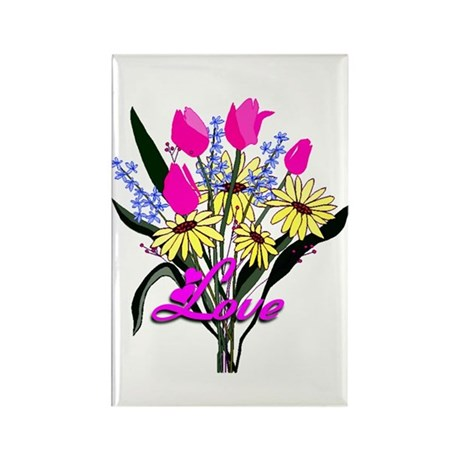 Love Bouquet Rectangle Magnet (10 pack)