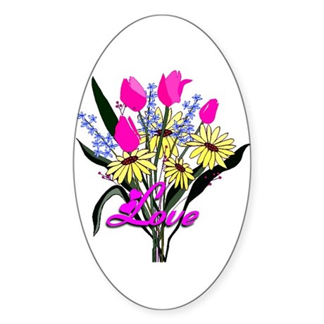 Love Bouquet Oval Sticker
