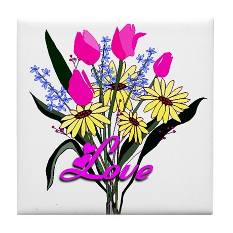 Love Bouquet Tile Coaster