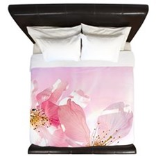 Pink Sakura Flower King Duvet