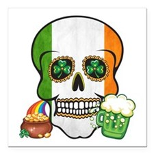 "Irish Skull Square Car Magnet 3"" x 3"""