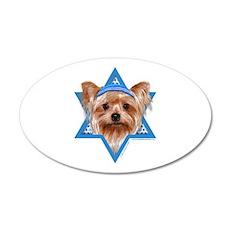 Hanukkah Star of David - Yorkie 20x12 Oval Wall De