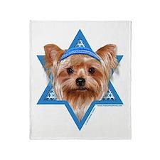 Hanukkah Star of David - Yorkie Throw Blanket