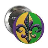 "Mardi Gras Beaded Fleur 2.25"" Button (10 pack)"