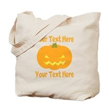 CUSTOM TEXT Jack O Lantern Tote Bag