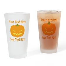 CUSTOM TEXT Jack O Lantern Drinking Glass