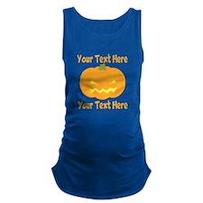 CUSTOM TEXT Jack O Lantern Maternity Tank Top