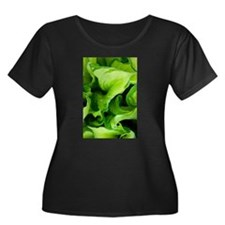 Green Leaves on Black Plus Size T-Shirt