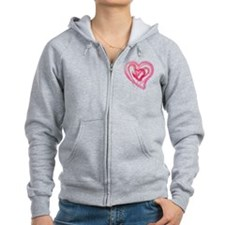 Four Love hearts in shades of pink Zip Hoodie