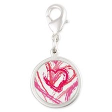 Four Love hearts in shades of pink Charms