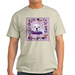 Bulldog puppy with flowers Ash Grey T-Shirt