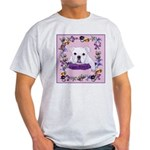 Bulldog puppy with flowers Ash Grey T-Shirt