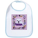 Bulldog puppy with flowers Bib