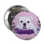 Bulldog puppy with flowers Button